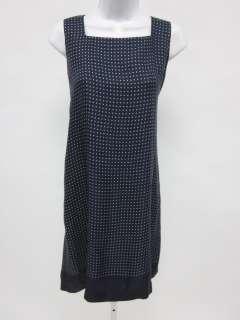 DKNY CLASSIC Navy Blue Polka Dot Sleeveless Dress Sz 8