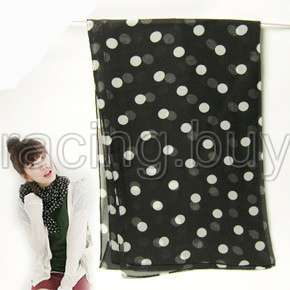 Fashion Chiffon Neck Shawl Scarf Retro Black White Dots Quantity 1