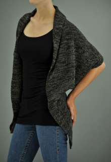 MM APPAREL Grey Brown Black Fly Away Uneven Hem Cable Knit Wrap