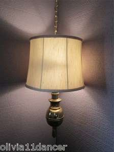 Ethan Allen Brass Hanging Swag Lamp Mid century Hollywood Regency