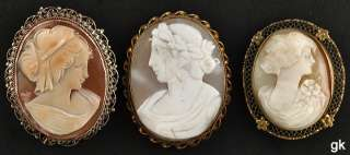 Pc Genuine Shell Carved Cameo Pins/Brooches 800 Purity Silver