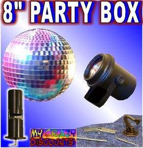 BALL PARTY IN A BOX dance light lite mirror motor hook battery lens dj