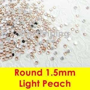 Flat Back Gems Round 1.5mm Nail Art Rhinestones Pick Quantity Light