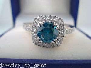 950 PLATINUM 1.40CT BLUE & WHITE DIAMONDS ENGAGEMENT RING