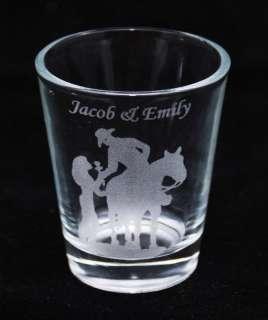 2oz Personalized Shot Glass   Western Wedding Theme