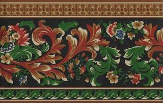 ROYAL SATEEN FLORAL AND SCROLL WALLPAPER BORDER