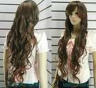 Extra long Wavy Dark brown Women hair wig + cap HE17