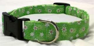Green with white flowers dog collar or collar and leash