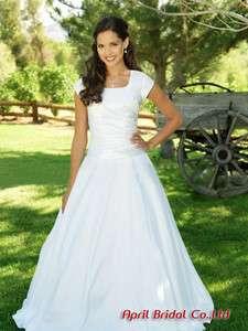 New White Satin Modest Wedding Dress Size 6