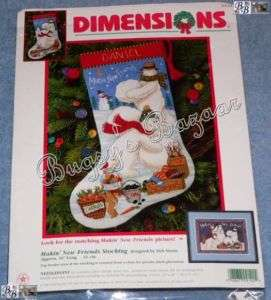 Dimensions MAKING NEW FRIENDS Snowmen Stocking Needlepoint Christmas