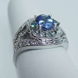 Tanzanite Yellow Sapphire Diamond 14K White Gold Ring Estate Jewelry