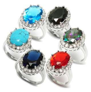 Sterling Silver Royal Oval CZ Replica Ring in 6 Colors