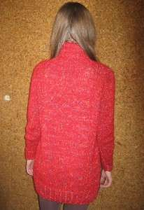 Hand knitted wool new sweater fire red streaked with golden and blue