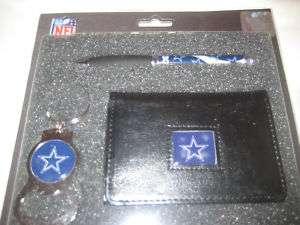 Dallas Cowboys NFL Mens Tri Fold Wallet w/Pen, Keychain