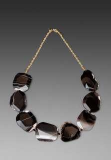 KENNETH JAY LANE Black Agate Stone Necklace