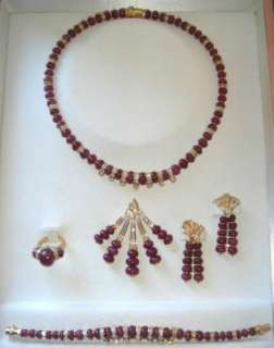 MOUAWAD ~ RUBY & DIAMOND Necklace, Bracelet & Ear Rings