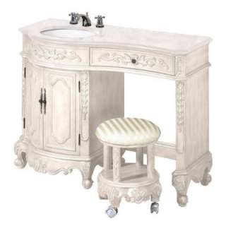 Vanity in Ivory with White Granite Top and Vanity Stool 5896900420 at