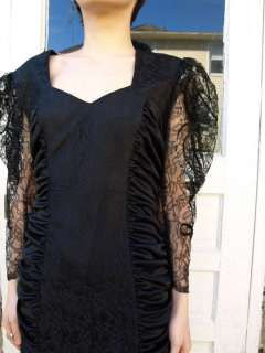 vintage 80s black sheer LACE puff sleeve party Cocktail ruched DRESS