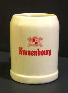 Vintage 1960s Kronenbourg Ceramic Beer Mug French Beer Belgium Mug