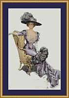 VICTORIAN LADY ON GOLD CHAIR~counted cross stitch pattern #1601~Ladies
