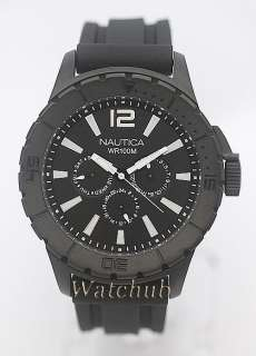EXQUISITE NEW NAUTICA MENS NSR 05 SPORTY BLACK DAY/DATE 100M MENS