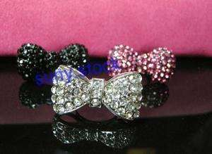 3PCS Different colors pink black white CRYST hello kitty bow