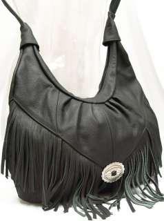 Genuine LEATHER Shoulder PURSE Hobo Black NWT Large Handbag Cross Body
