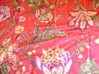 JAY YANG Red JACOBEAN Floral Drapery Cotton Fabric 55x24