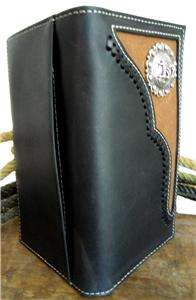 WESTERN GENUINE LEATHER MENS BLACK WALLET W/ PRAYING COWBOY CONCHO