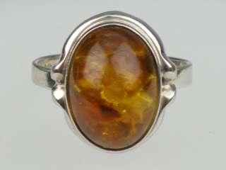 Fischland Art Deco Silber Ring mit Bernstein