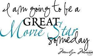 Wall words letter decal Marilyn Monroe Quote Movie Star