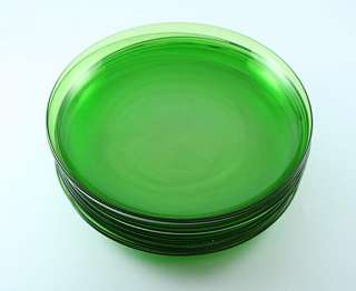 10 FINE QUALITY STEUBEN HAND BLOWN GREEN GLASS PLATES