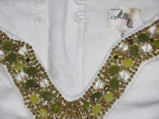 New Milly Beaded Neck Doris Dress 2 White $435
