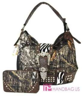 WESTERN CAMO MOSSY OAK ZEBRA RHINESTONE BELT SHOULDER PURSE BAG WALLET