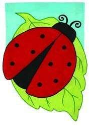 9979FL Ladybug Leaf Applique Large Flag