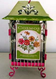 Shabby PINK & GREEN Chic TOLE LANTERN CANDLE HOLDER