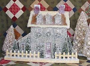 Primitive Brown Stone Lighted Putz Christmas House Paper Mache