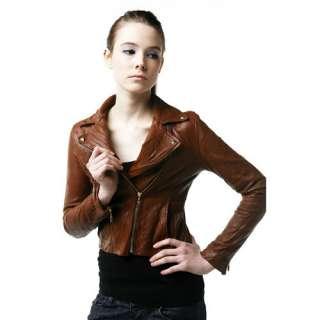 Ladies Womens Chic Vintage Lambskin Brown Leather Biker Rider Jacket 4