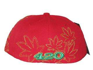 Leaf Cannabis Hat Cap Red Green Gold 420 Chronic Leader Brand