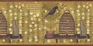 Country Folk Art Bird & Cat Wallpaper Border