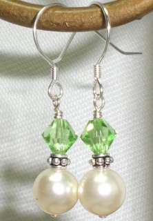 Green Crystal Pearl Bridesmaid Bridal Wedding Earrings 77 Color