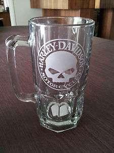 Harley Davidson Etched Skull beer mug (1 Lt)