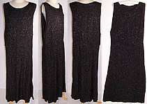 1920s Vintage Art Deco Black Silk Geometric Grid Beaded Flapper Dress