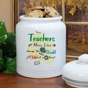 Custom Teachers Change The World Ceramic Cookie Jar