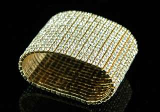 15 Row Wide Queen Gold Plated Bangle Bracelet B915G