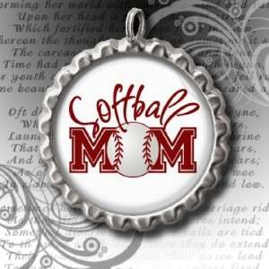SOFTBALL MOM BOTTLE CAP NECKLACE 24 BALL CHAIN