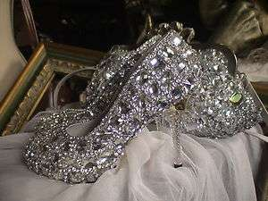 WHITE hand sewing ACRYLIC CRYSTAL WEDDING PROM BRIDAL SHOES