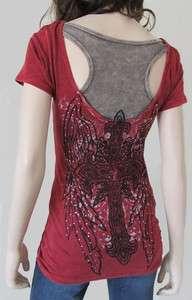 Vocal Cross Wing Rhinestone Razor Back T shirt S L XL