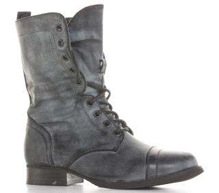 Ladies Womens Black Army Lace Combat Flat Military Ankle Boots Size 3
