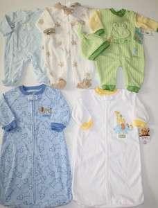 NWT EUC Baby Boy Pajamas Lot Size 0 3 Months Fleece Sacks Winter